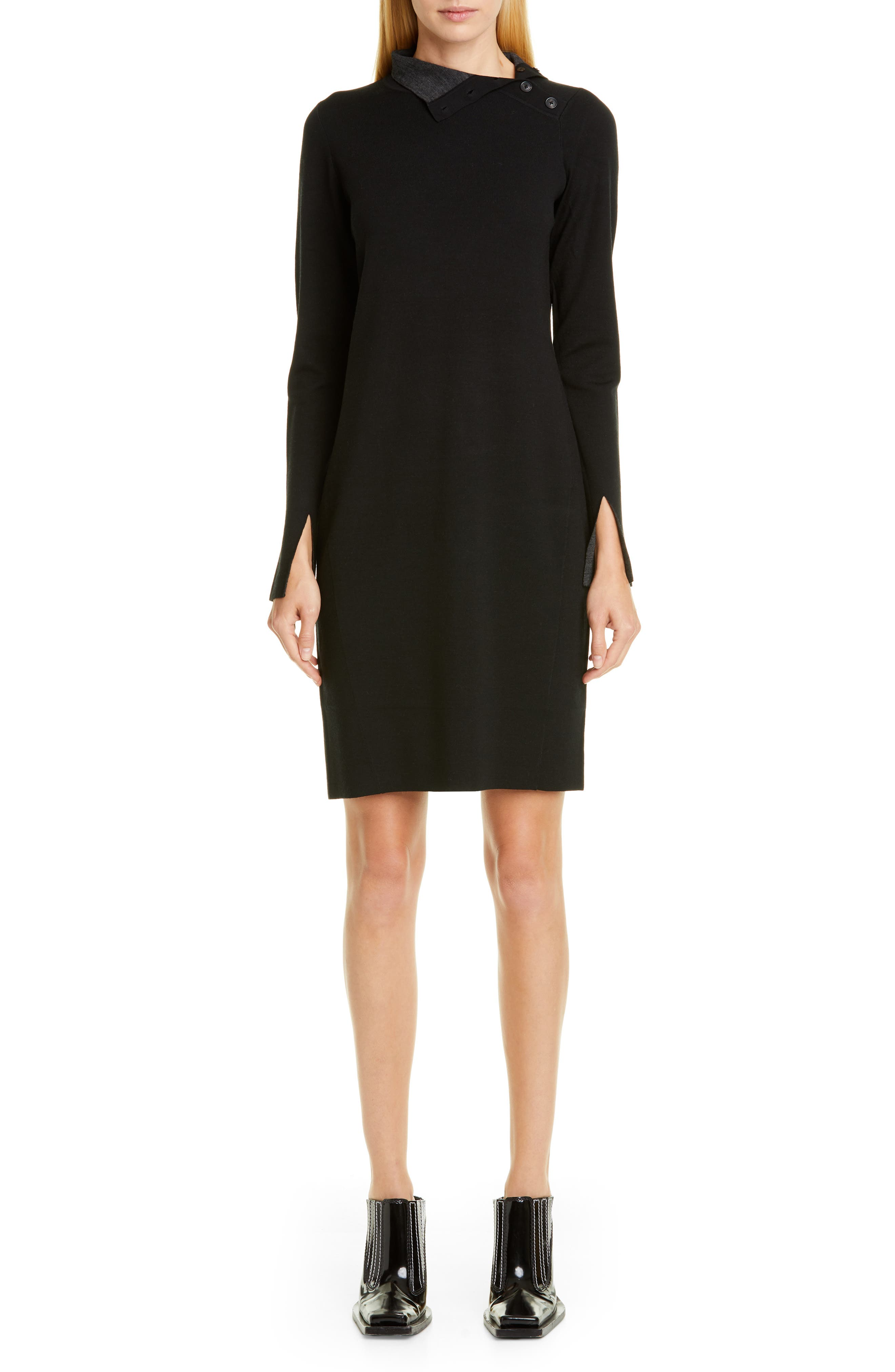 Proenza Schouler High Neck Long Sleeve Sweater Dress, Black