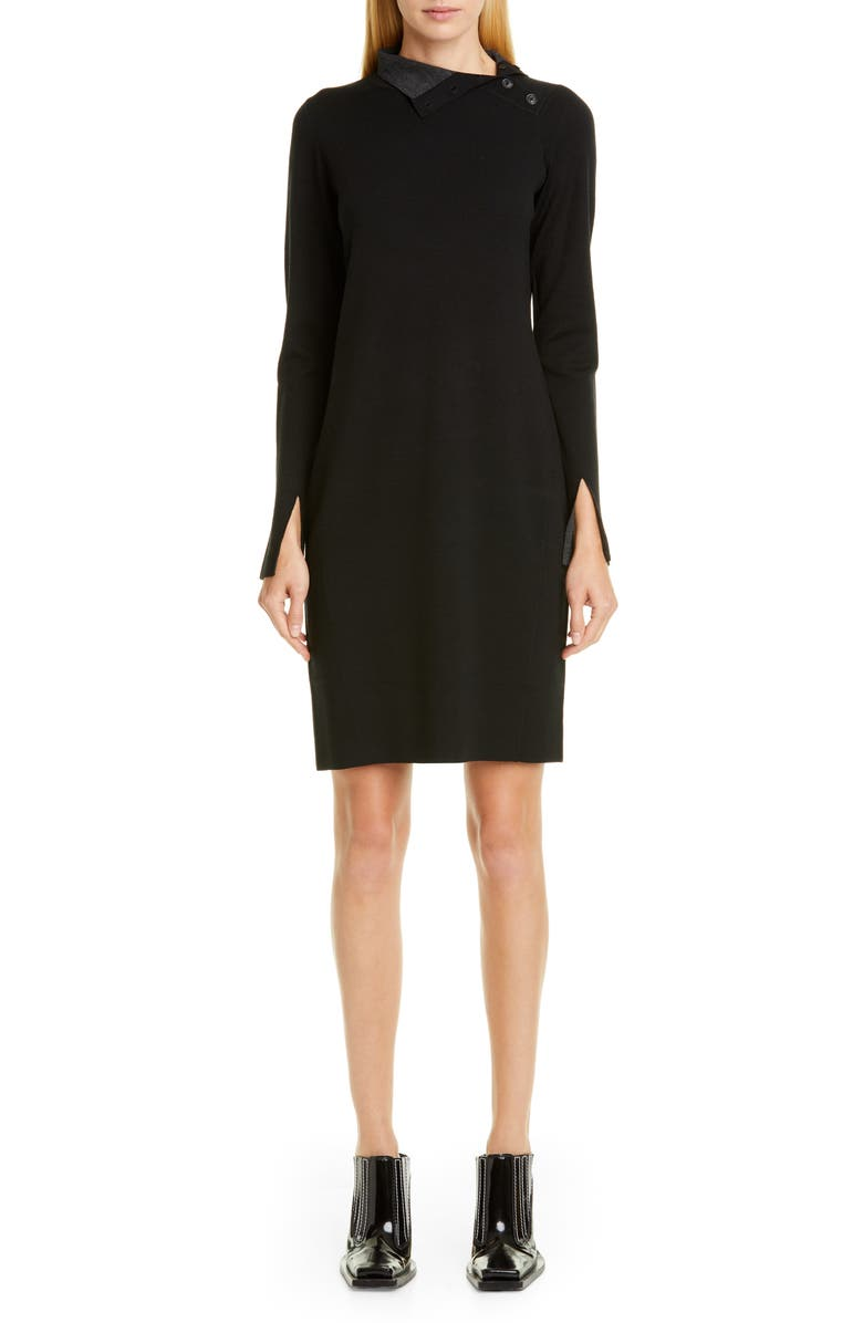 PROENZA SCHOULER High Neck Long Sleeve Sweater Dress, Main, color, BLACK COMBO