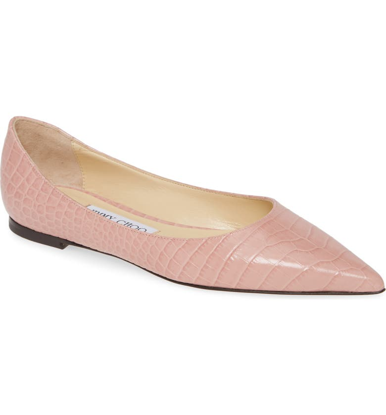 JIMMY CHOO Love Croc Embossed Flat, Main, color, BLUSH
