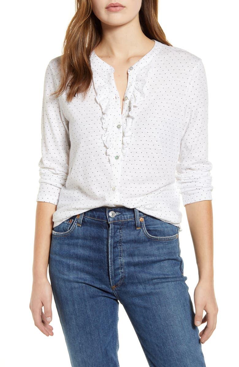 LUCKY BRAND Ruffle Polka Dot Knit Shirt, Main, color, WHITE/ NAVY