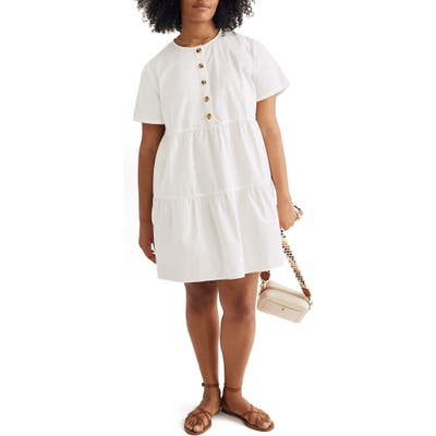 Madewell Button Front Short Sleeve Tiered Minidress, Ivory