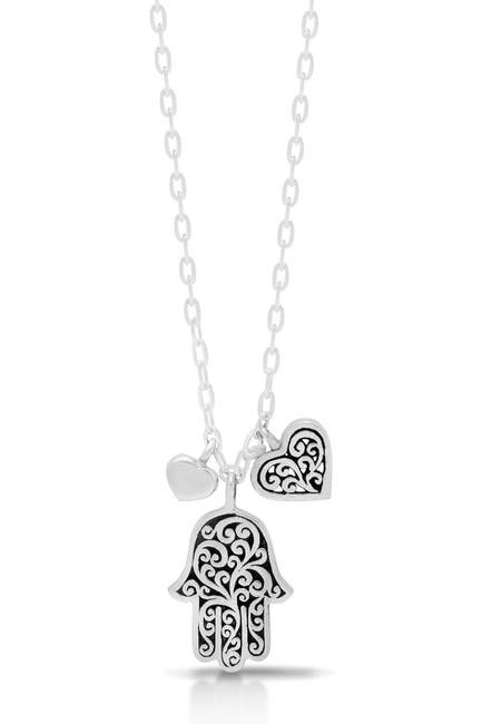 Image of Lois Hill Sterling Silver Hamsa & Heart Charm Necklace