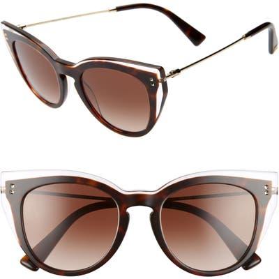 Valentino 50Mm Cat Eye Sunglasses - Havana