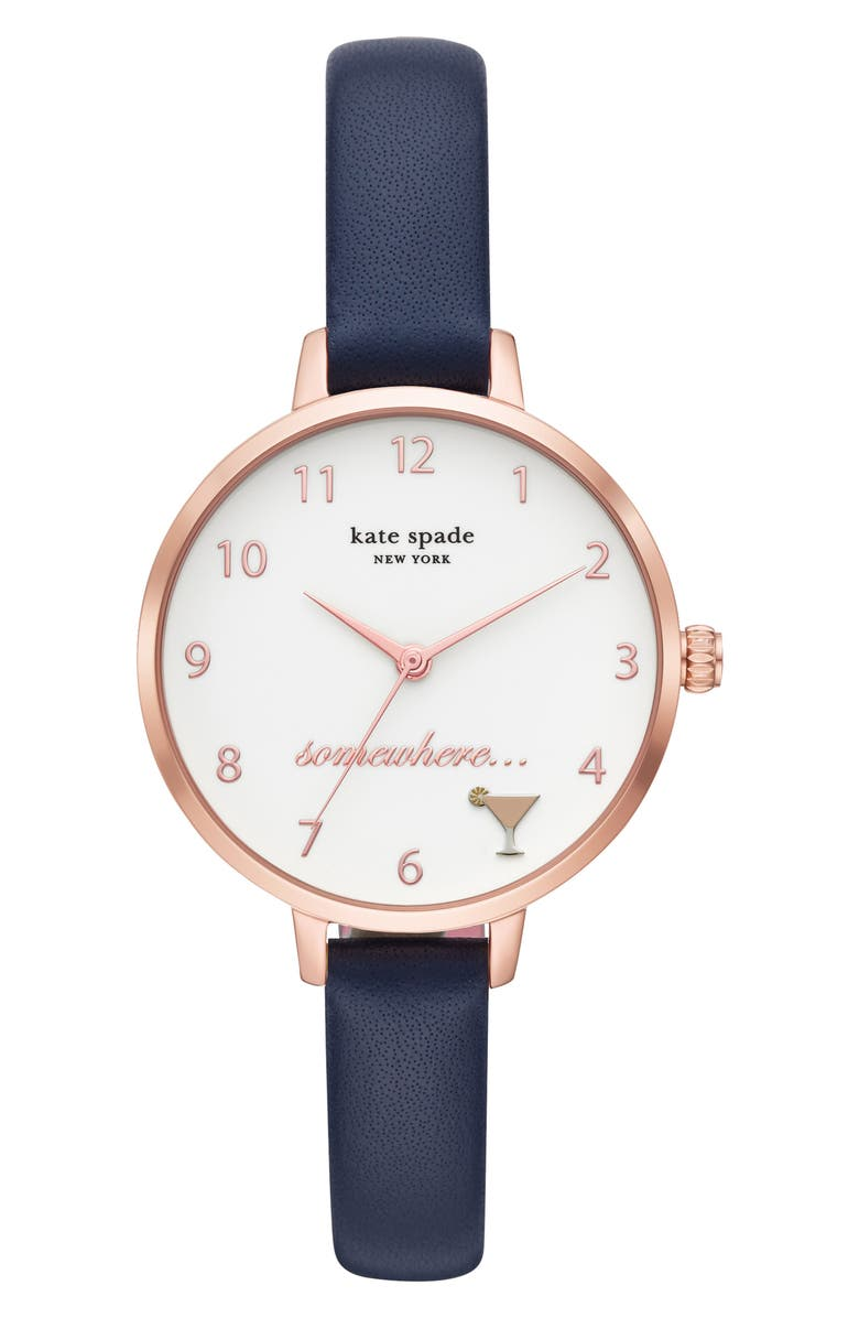 KATE SPADE NEW YORK metro 5 o'clock somewhere leather strap watch, 34mm, Main, color, BLUE/ WHITE/ ROSE GOLD