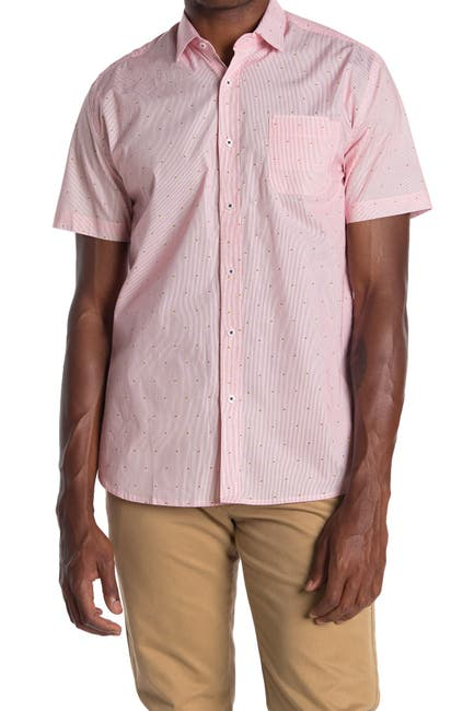 Image of IMPATIENT WOLVES Short Sleeve Thin Line Print Shirt