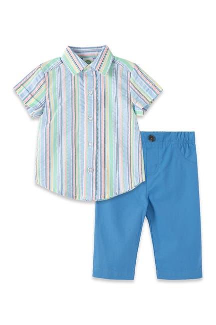Image of Little Me Multi Stripe Shirt & Pants Set