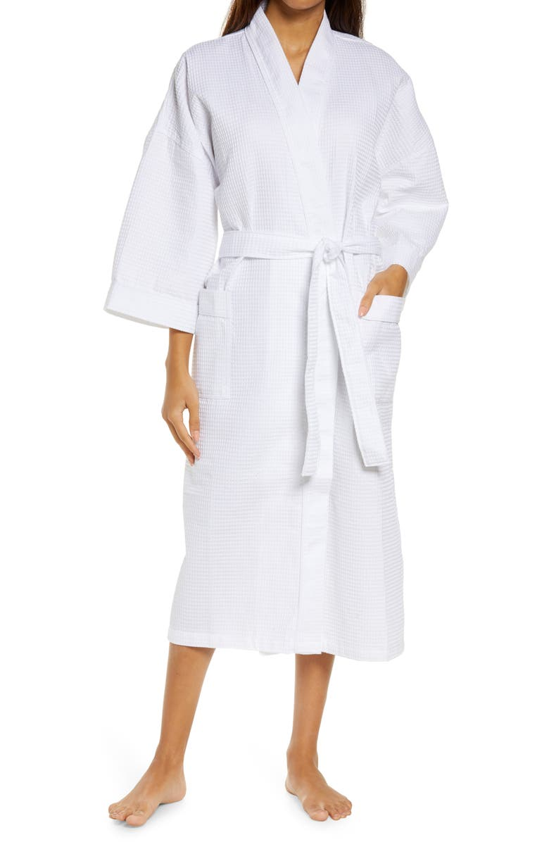 MAJESTIC INTERNATIONAL Somerset Woven Waffle Robe, Main, color, White