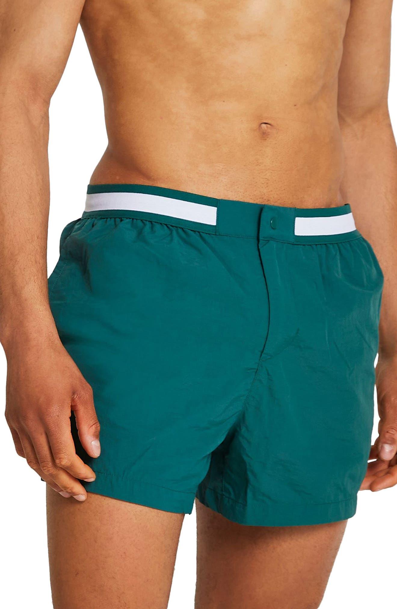 Vintage Men's Swimsuits – 1930s, 1940s, 1950s History Mens River Island Taped Swim Shorts Size Medium - Green $48.00 AT vintagedancer.com