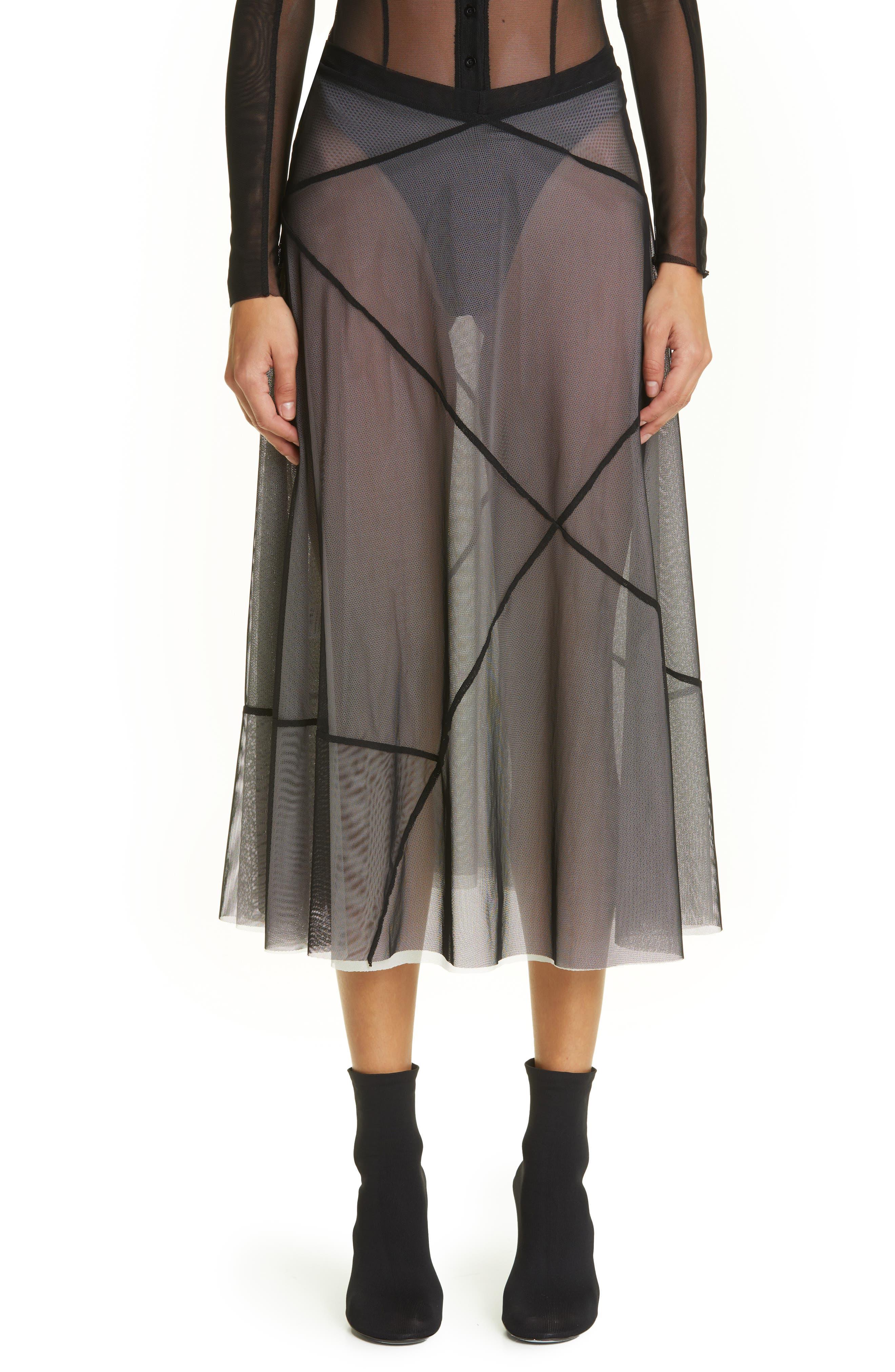 Seamed Mesh Midi Skirt