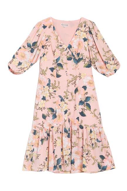Image of NANETTE nanette lepore Long Sleeve Floral V-Neck Dress