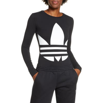 Adidas Originals Large Logo Long Sleeve Bodysuit, Black
