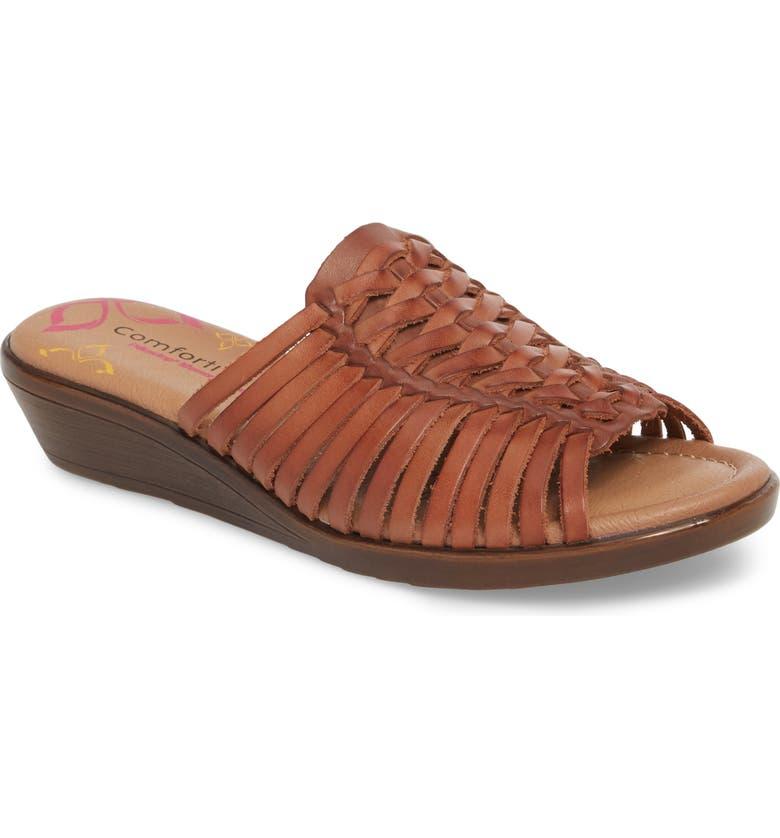 COMFORTIVA Felida Huarache Slide Sandal, Main, color, RUST LEATHER