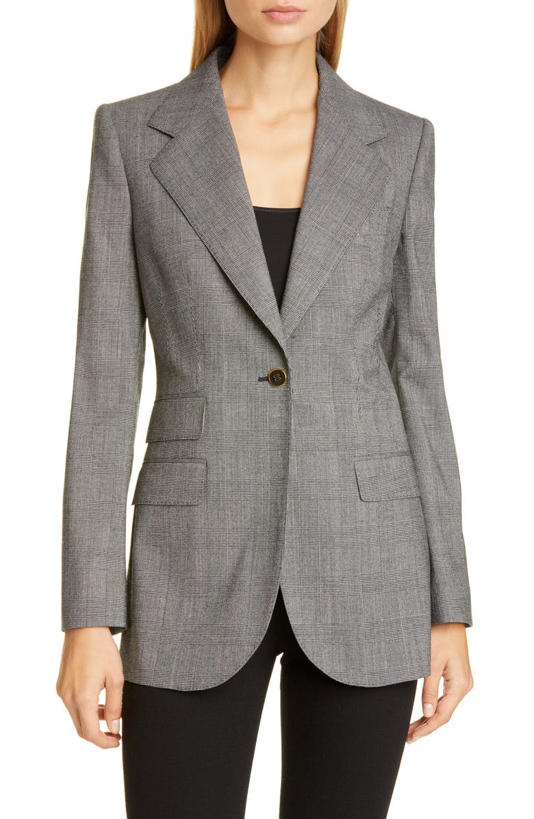 DOLCE&GABBANA Glen Check Stretch Wool Blazer, Main, color, TARTAN