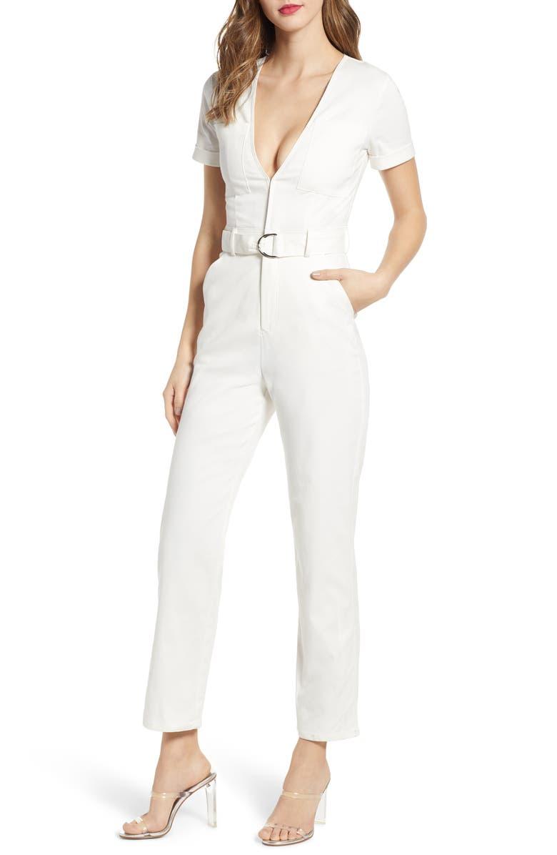 TIGER MIST Phillipa Denim Jumpsuit, Main, color, WHITE