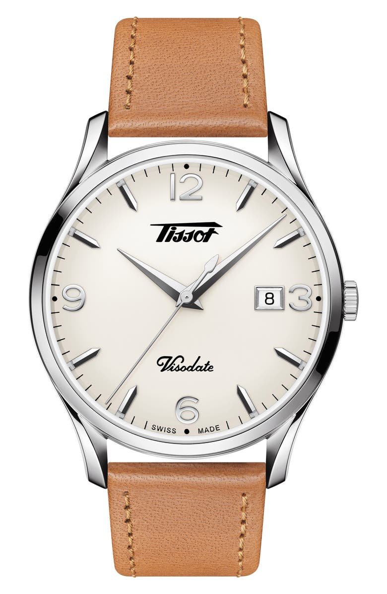 TISSOT Heritage Visodate Leather Strap Watch, 40mm, Main, color, BROWN/ WHITE/ SILVER
