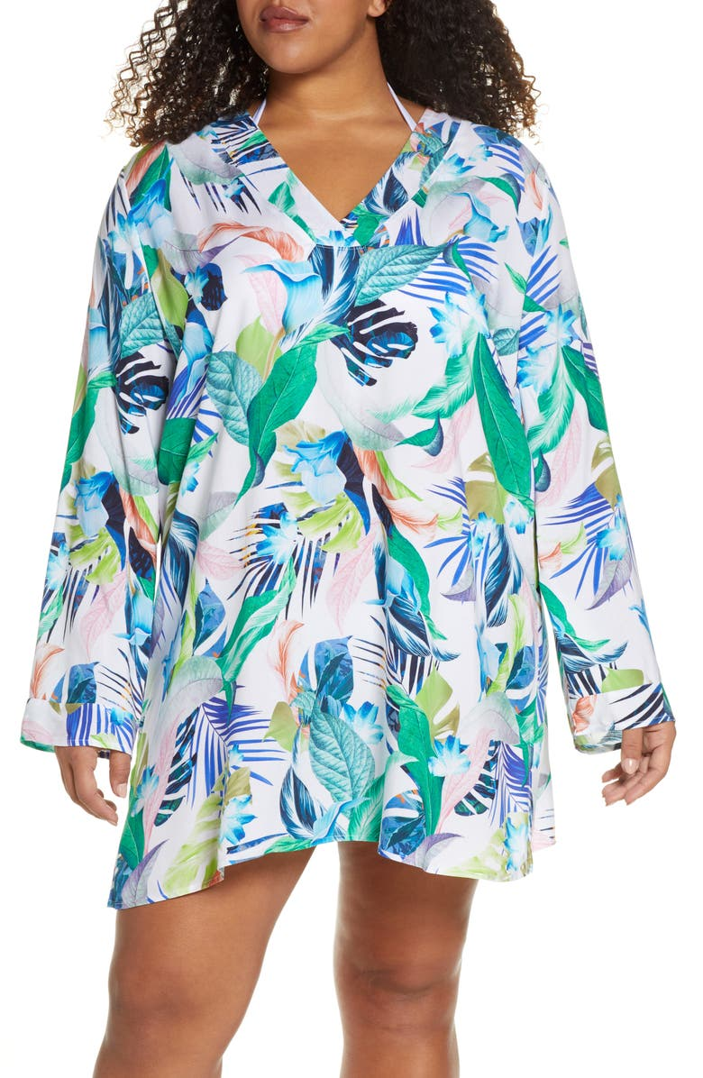 LA BLANCA In the Moment Cover-Up Tunic, Main, color, WHITE MULTI