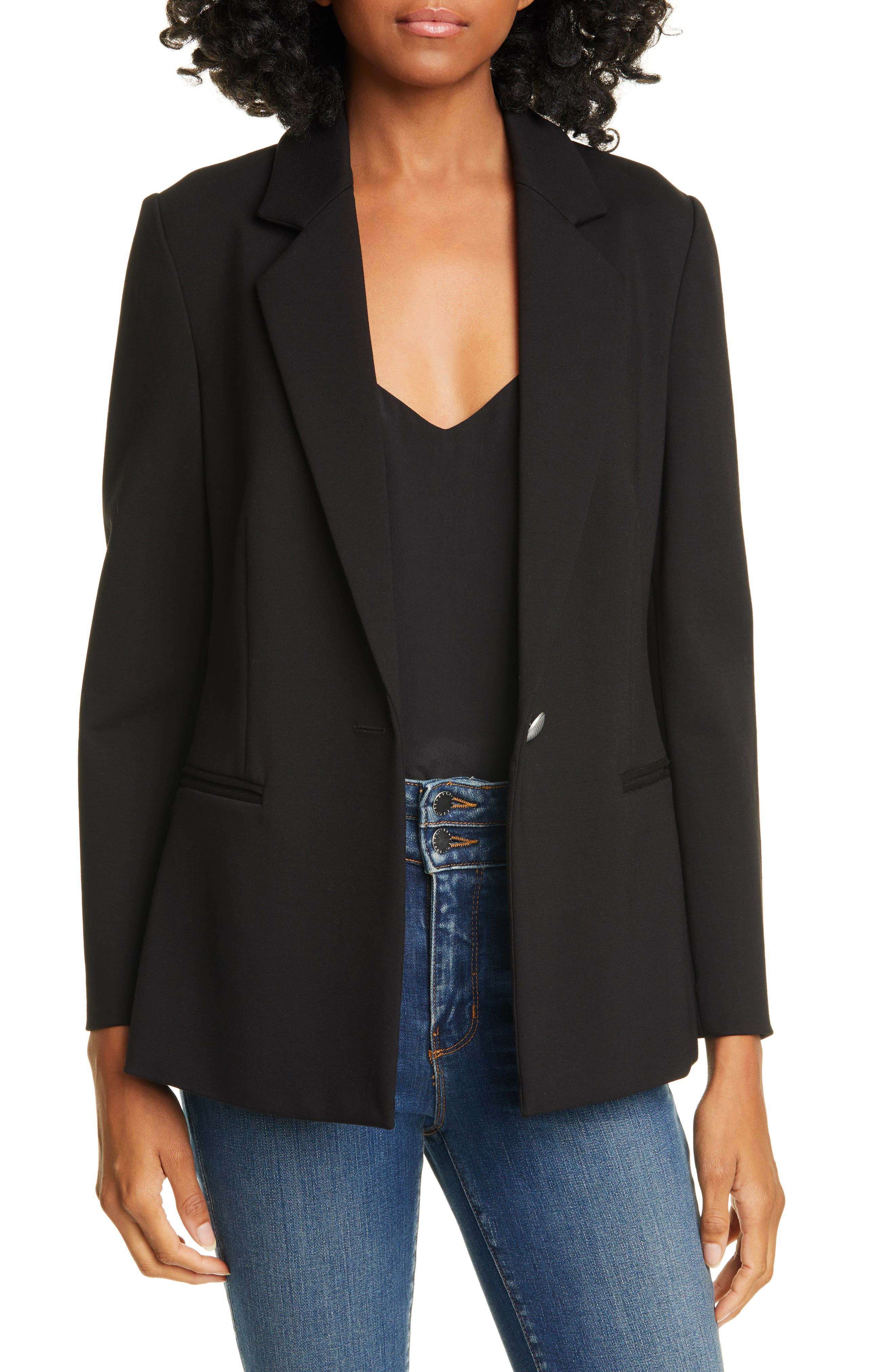 Image of L'AGENCE Scout Solid One Button Notch Lapel Ponte Blazer