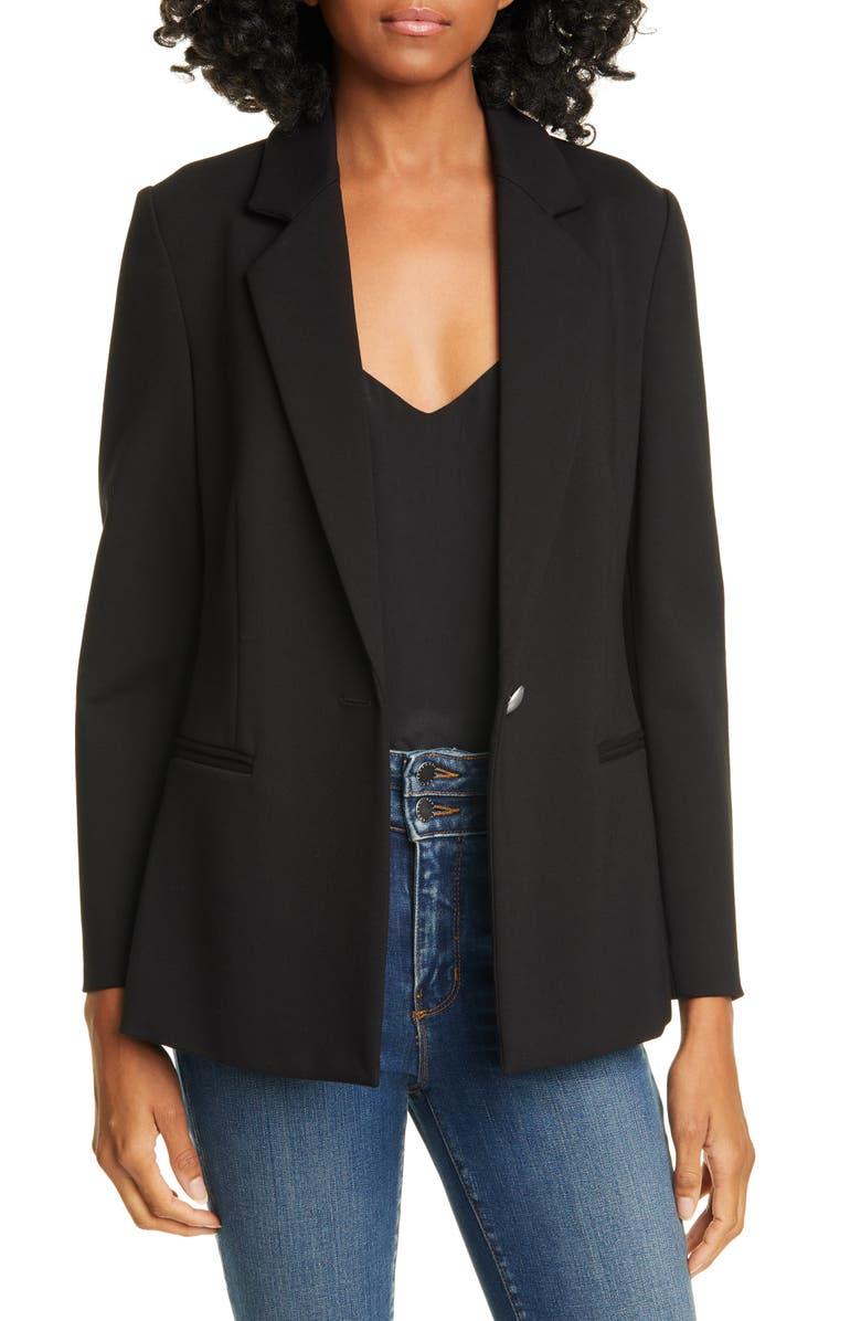 L'AGENCE Scout Ponte Knit Blazer, Main, color, BLACK