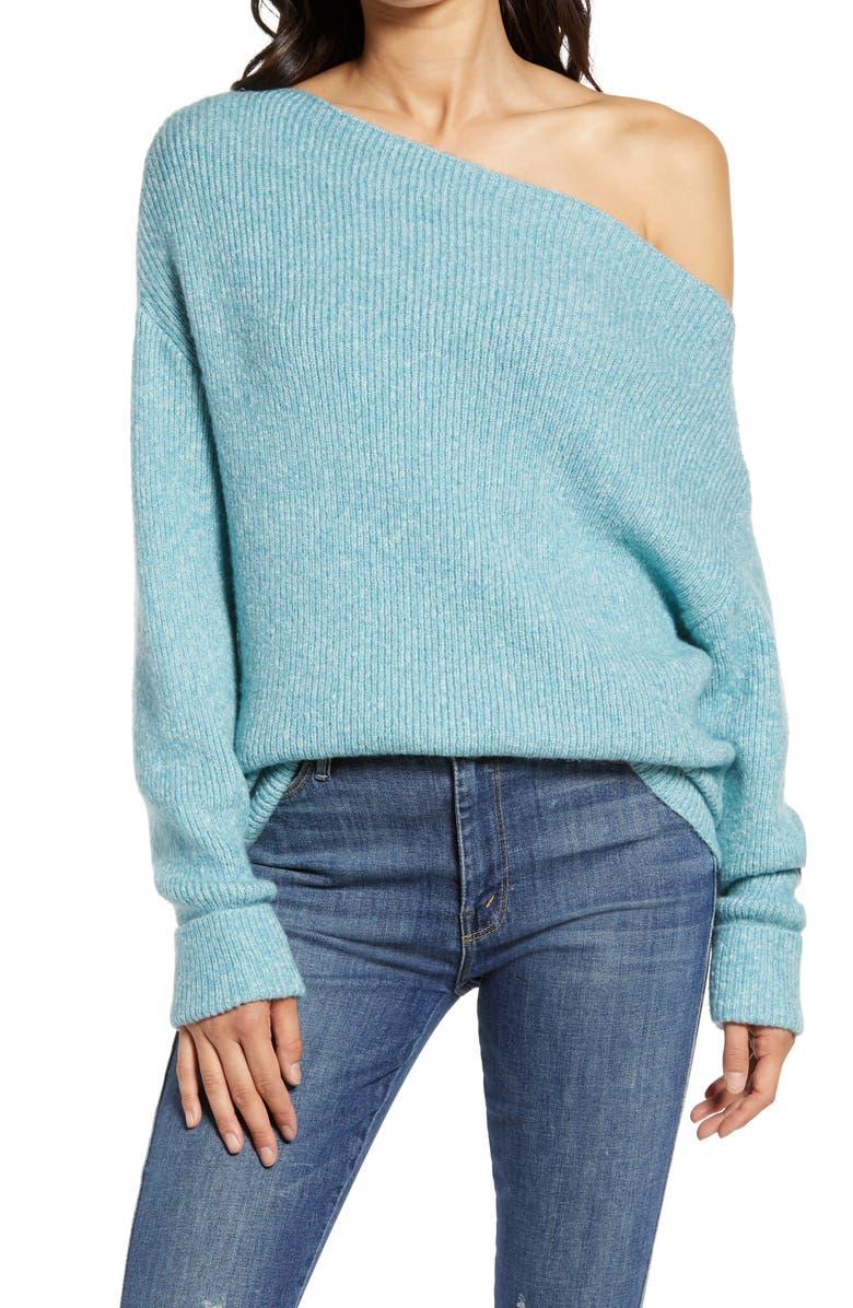 TREASURE & BOND Off the Shoulder Pullover, Main, color, BLUE MILKY