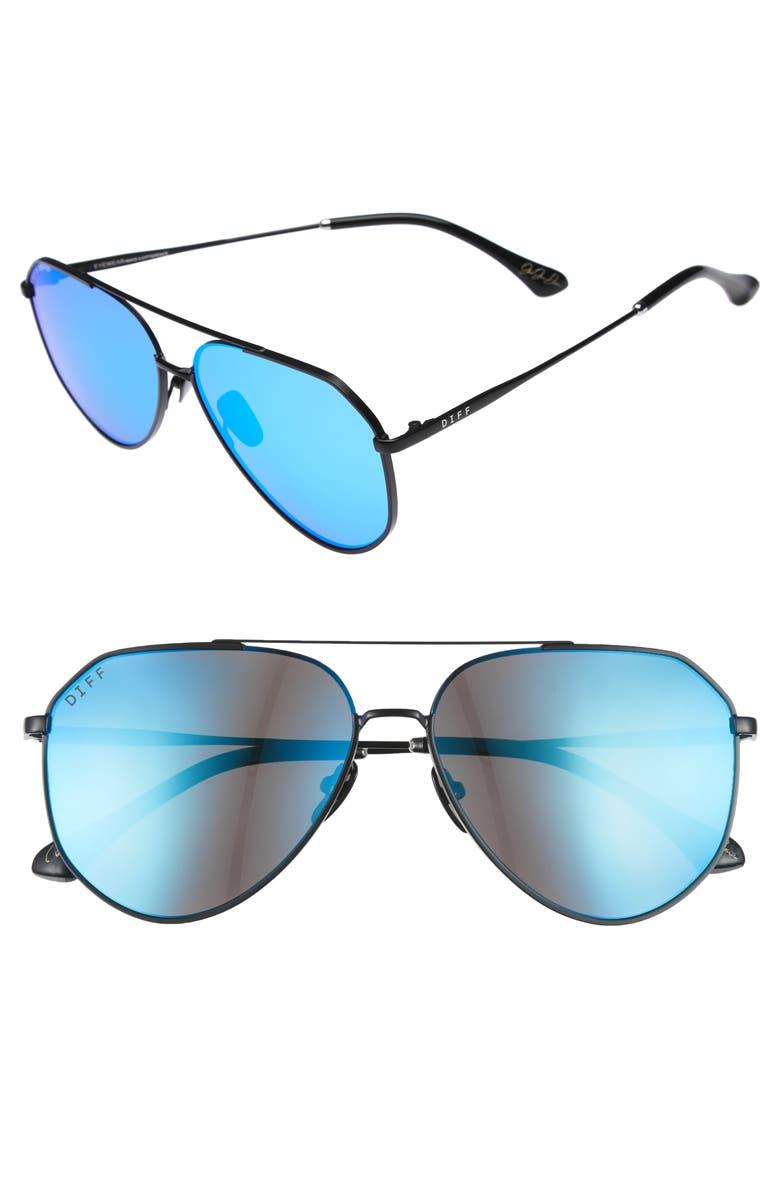DIFF x Jessie James Decker Dash 61mm Polarized Aviator Sunglasses, Main, color, 001