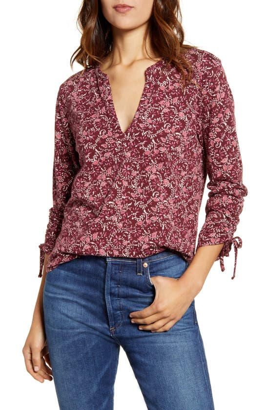 Lucky Brand Floral-print 3/4-sleeve Top In Burgundy Multi