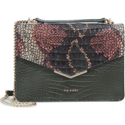 Ted Baker London Gemmeh Slim Bar Croc Embossed Leather Shoulder Bag - Green