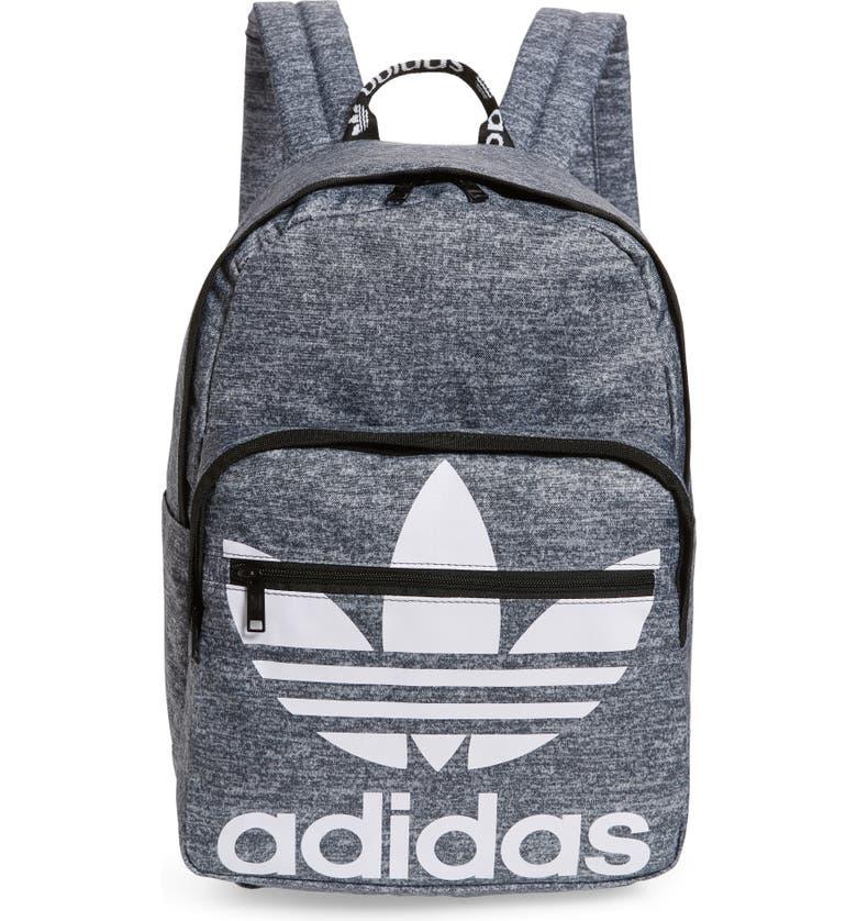 ADIDAS ORIGINALS Trefoil Pocket Dark Grey Backpack, Main, color, 020