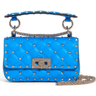 Valentino Garavani Mini Spike It Rockstud Neon Leather Shoulder Bag - Blue