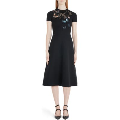 Valentino Butterfly Embroidered Lace Panel Midi Dress, US / 42 IT - Black
