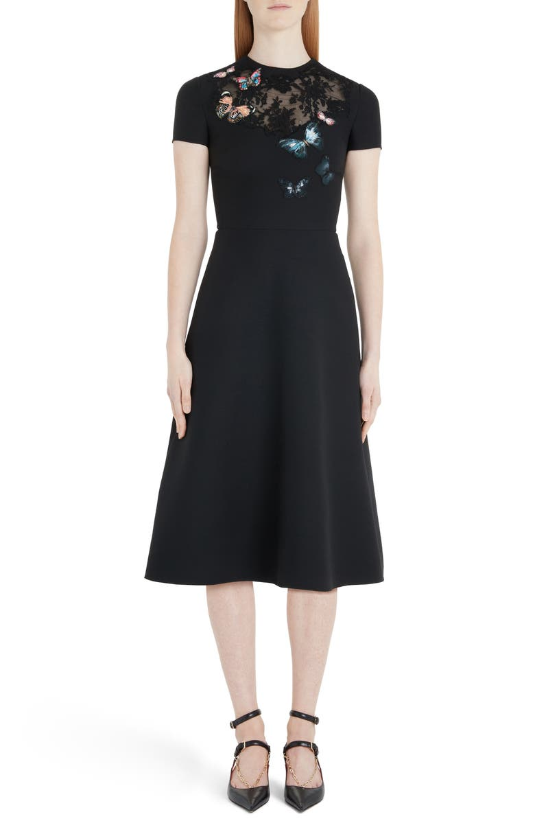 VALENTINO Butterfly Embroidered Lace Panel Midi Dress, Main, color, 001