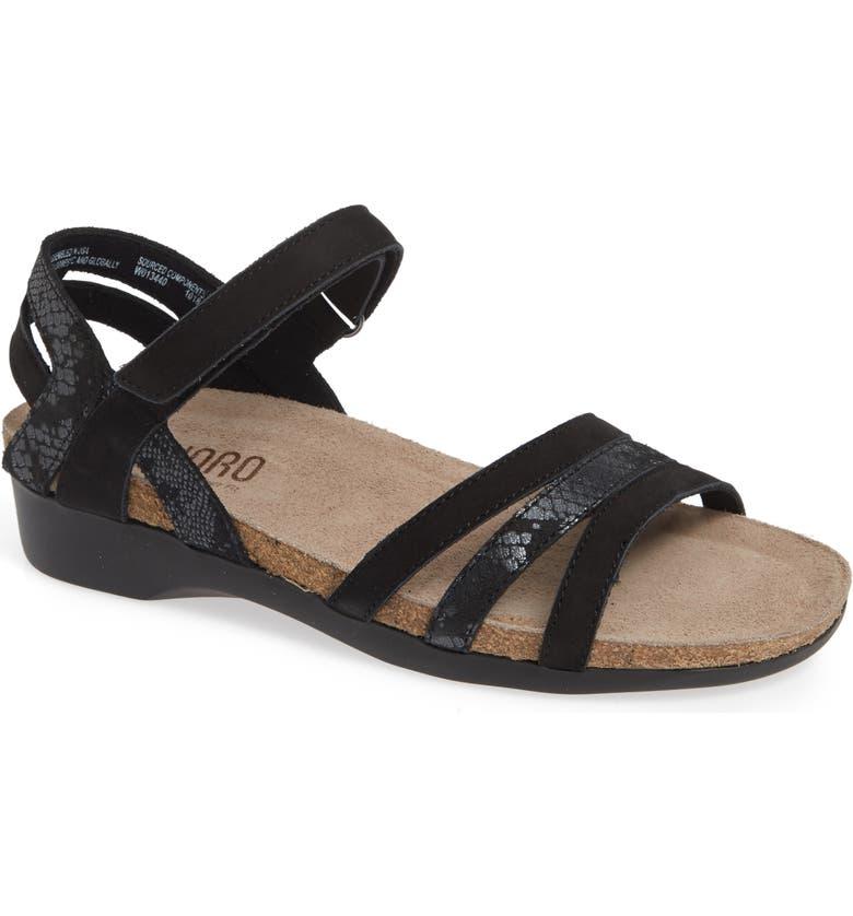 MUNRO Summer Sandal, Main, color, BLACK COMBO NUBUCK