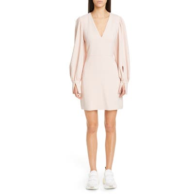 Stella Mccartney Long Sleeve Stretch Cady Dress, US / 46 IT - Pink
