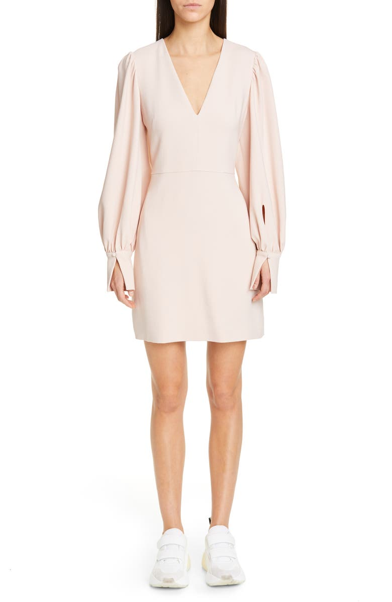 STELLA MCCARTNEY Long Sleeve Stretch Cady Dress, Main, color, ROSE