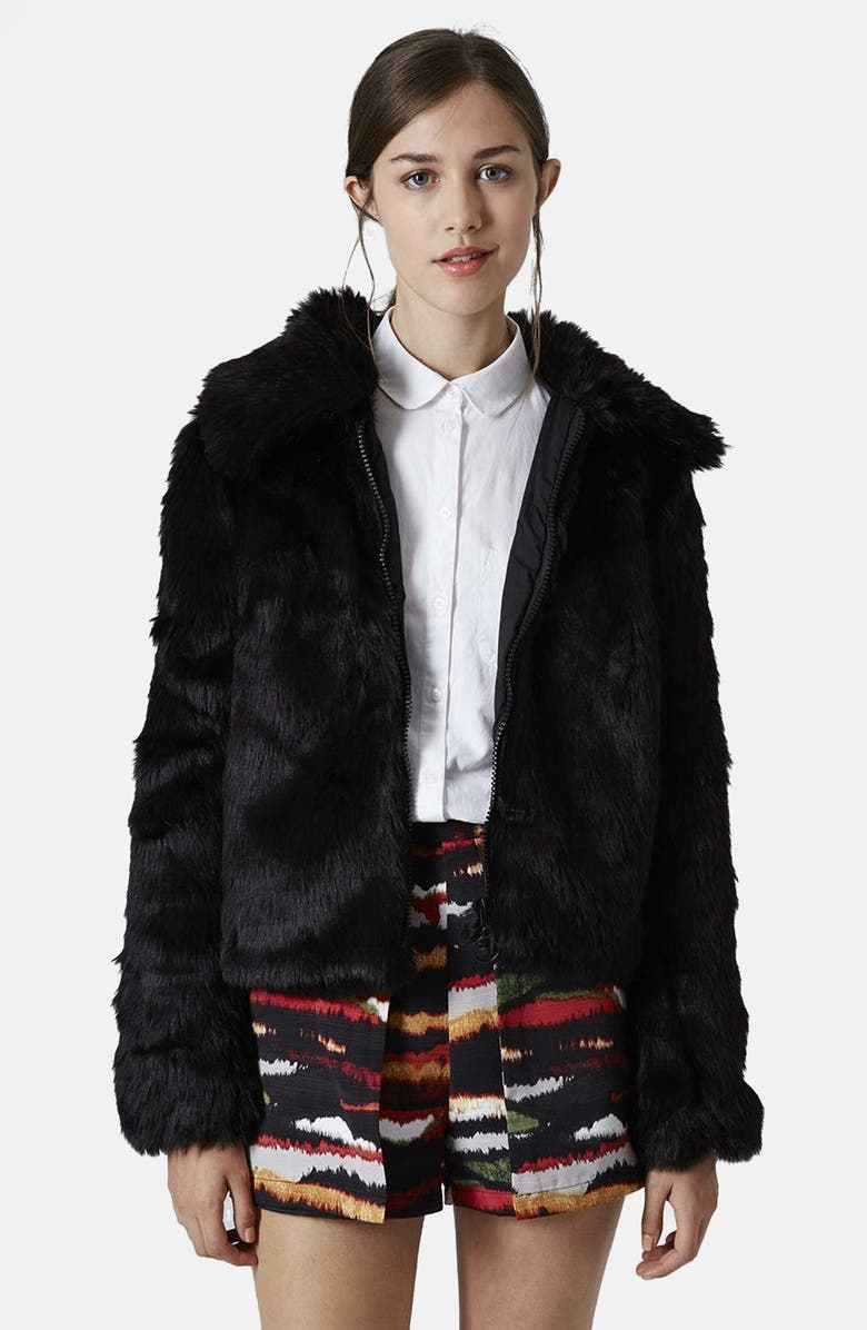TOPSHOP Faux Fur Bomber, Main, color, 001