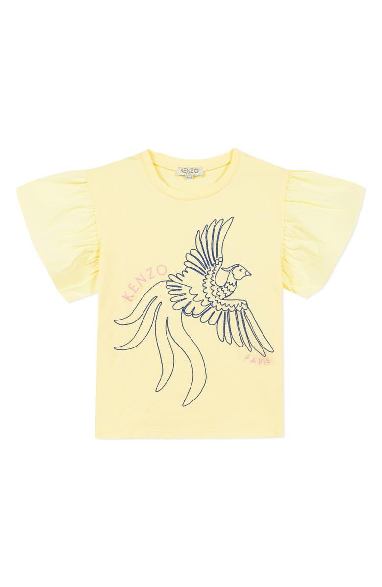 KENZO Embroidered Flutter Sleeve Tee, Main, color, LEMON
