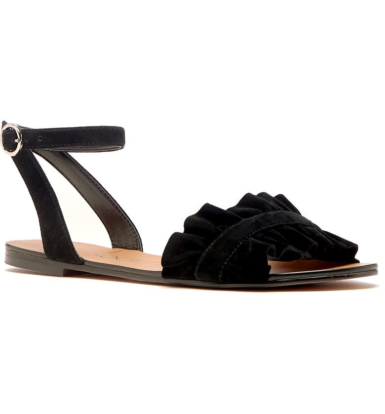 SOLE SOCIETY Elixane Ruffle Sandal, Main, color, BLACK SUEDE