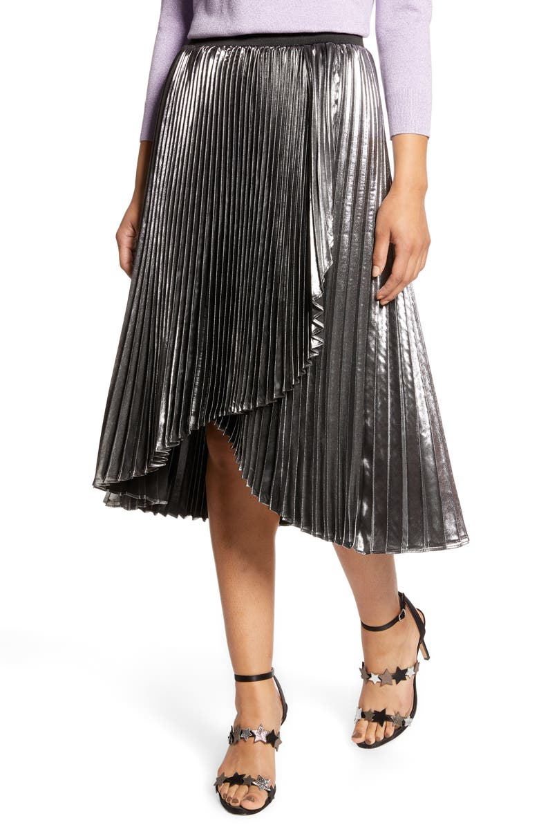 HALOGEN<SUP>®</SUP> x Atlantic-Pacific Waterfall Lamé Skirt, Main, color, SILVER
