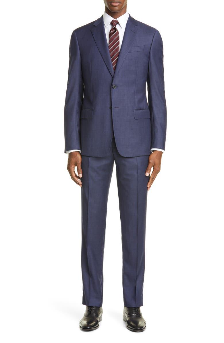 EMPORIO ARMANI Trim Fit Check Wool Suit, Main, color, BLUE