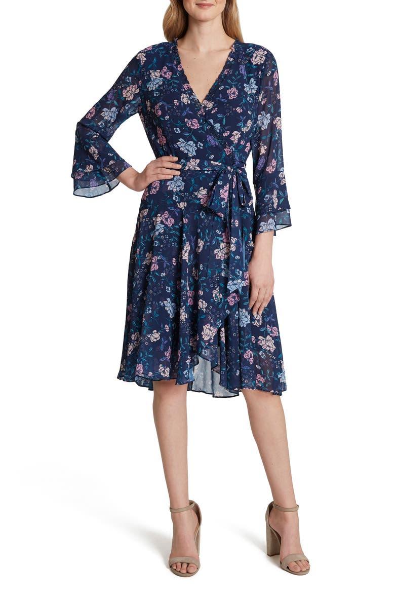 TAHARI Faux Wrap Floral Long Sleeve Chiffon Dress, Main, color, NAVY PINK LILAC