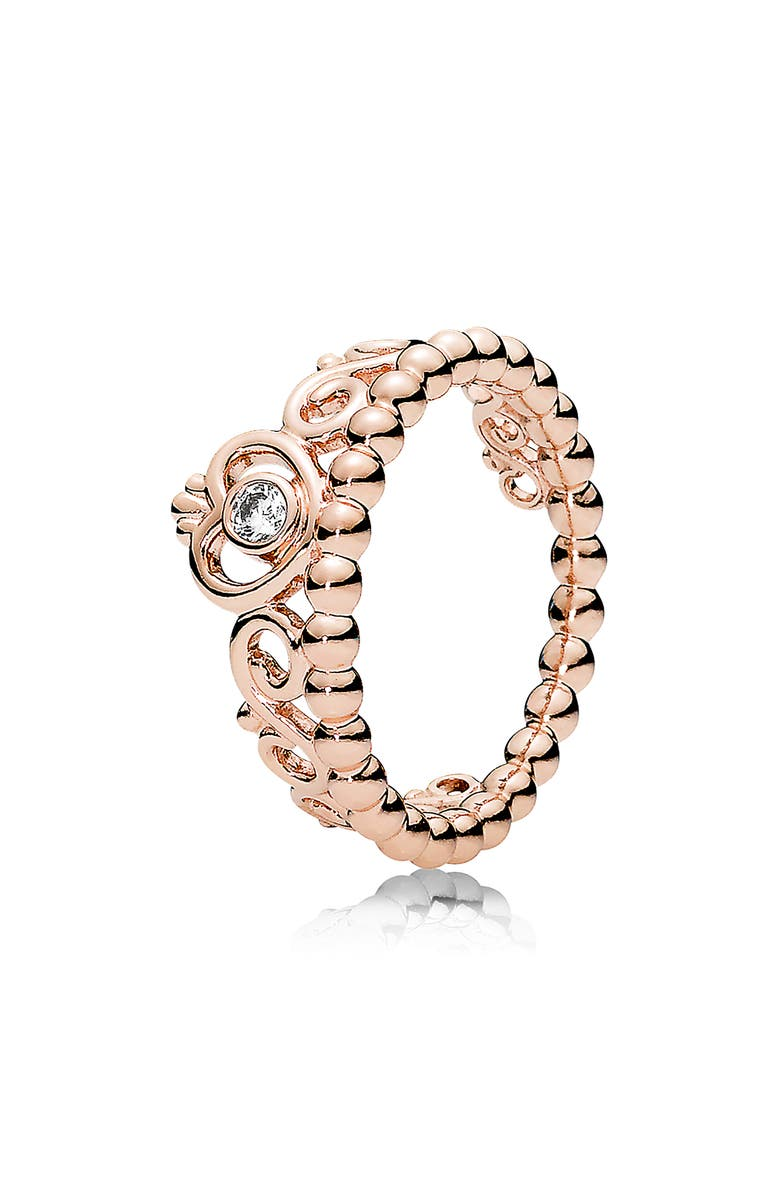 PANDORA Rose My Princess Tiara Ring, Main, color, ROSE GOLD