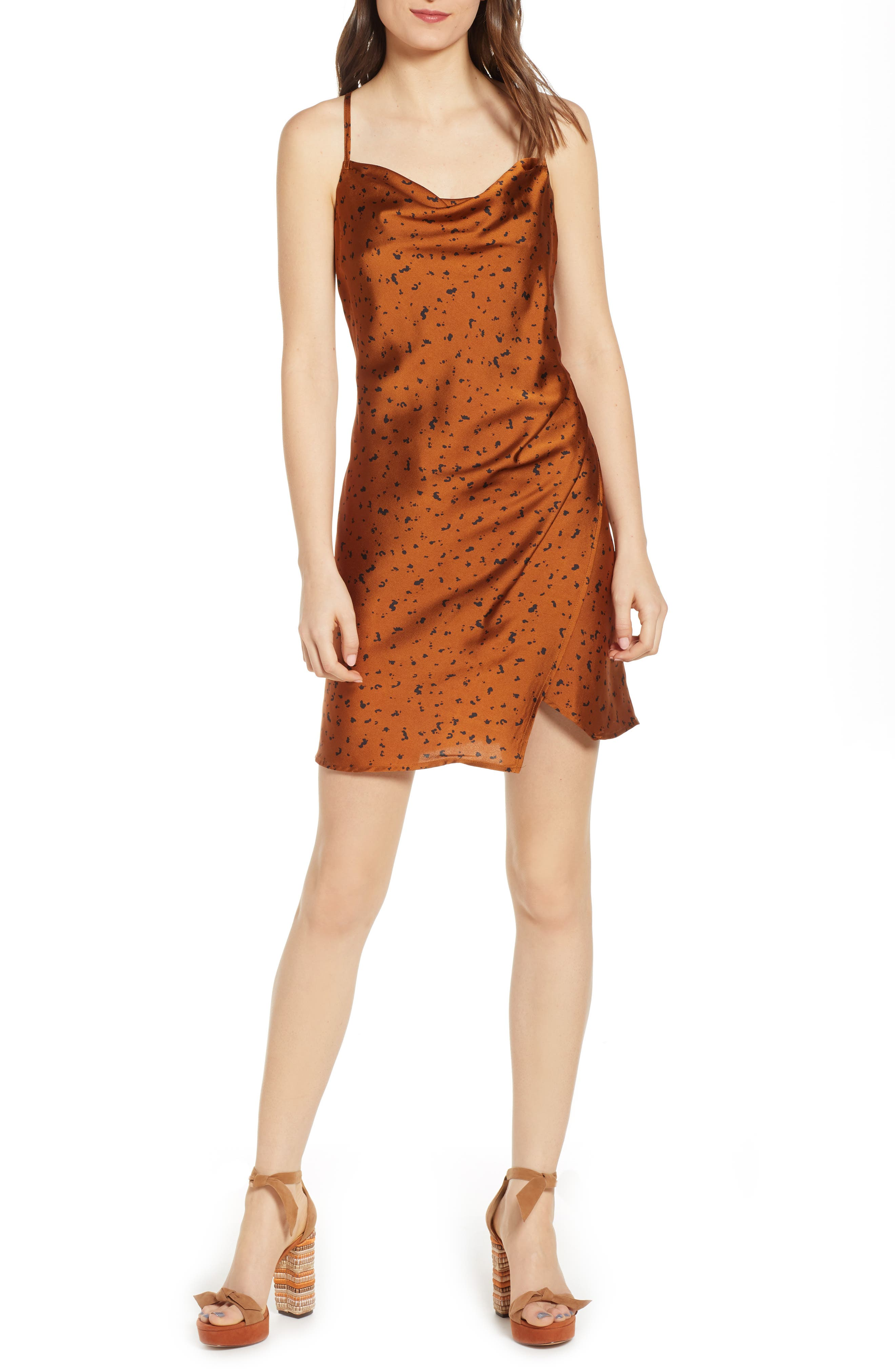 J.o.a. Animal Print Slipdress, Brown