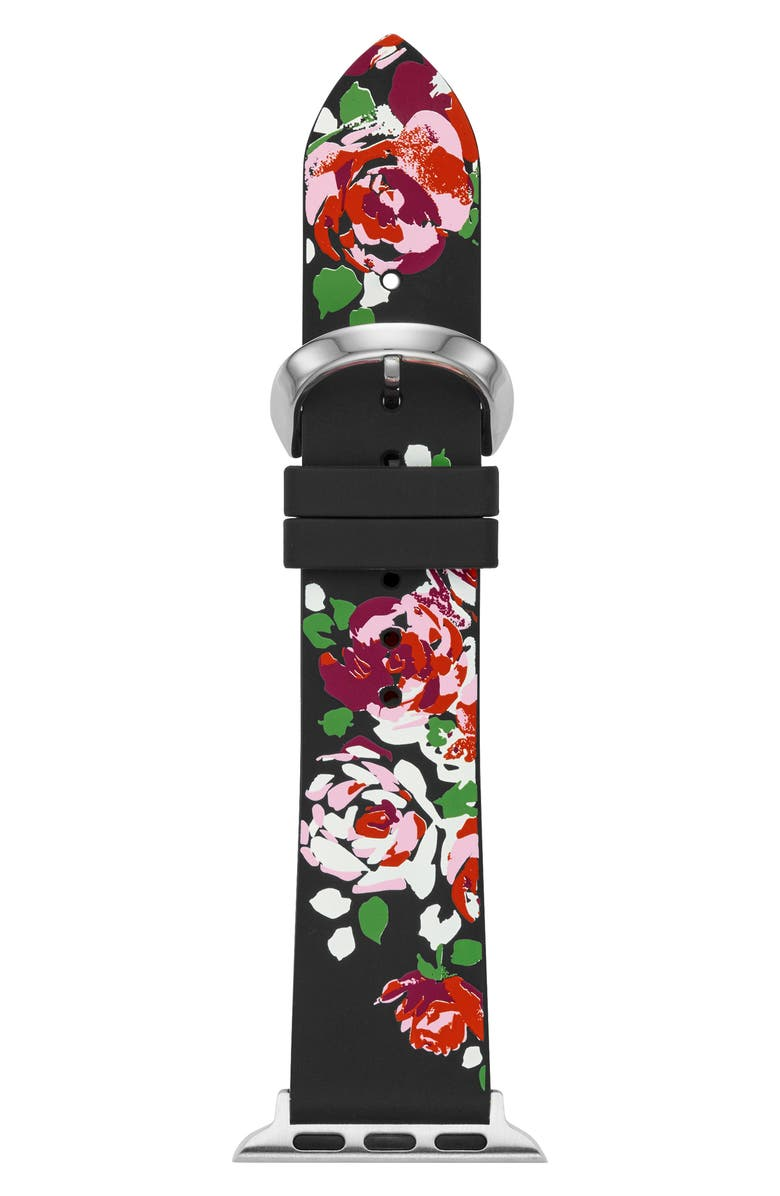 KATE SPADE NEW YORK Apple Watch<sup>®</sup> strap, 38mm, Main, color, BLACK/ FLORAL PRINT