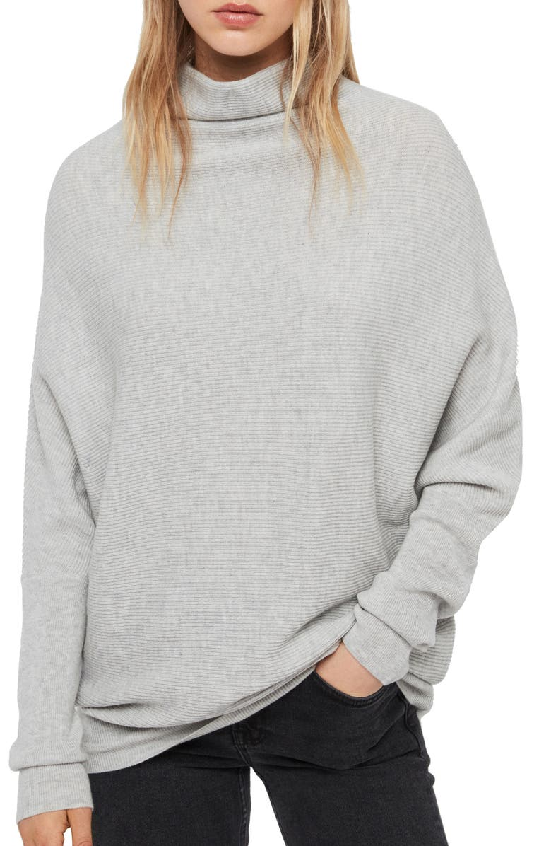 ALLSAINTS Ridley Funnel Neck Wool & Cashmere Sweater, Main, color, 090