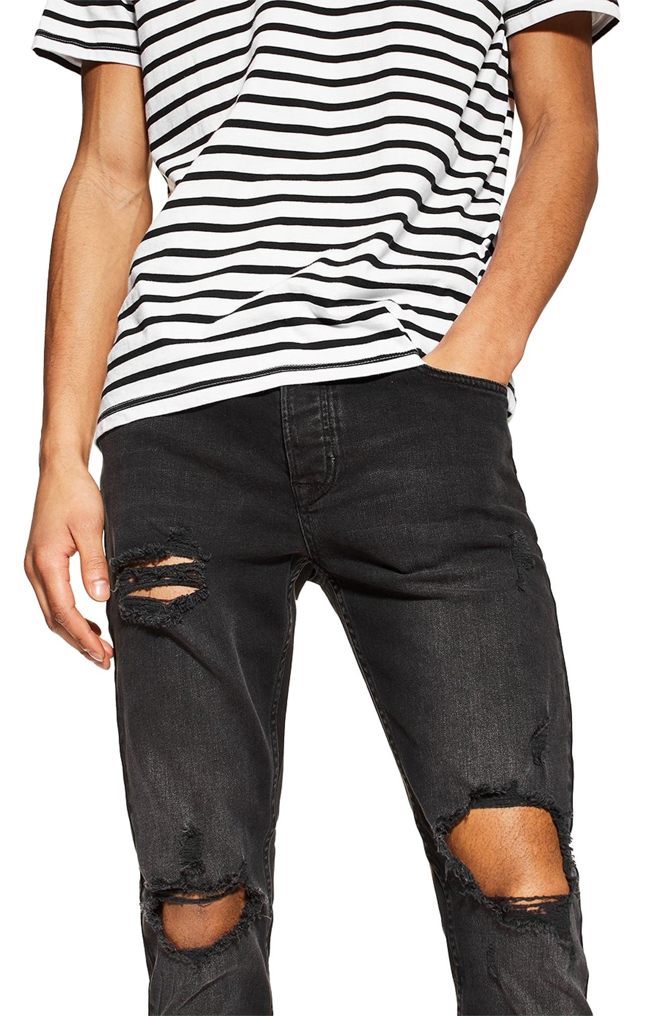 ,                             Ripped Skinny Fit Jeans,                             Alternate thumbnail 4, color,                             WASHED BLACK