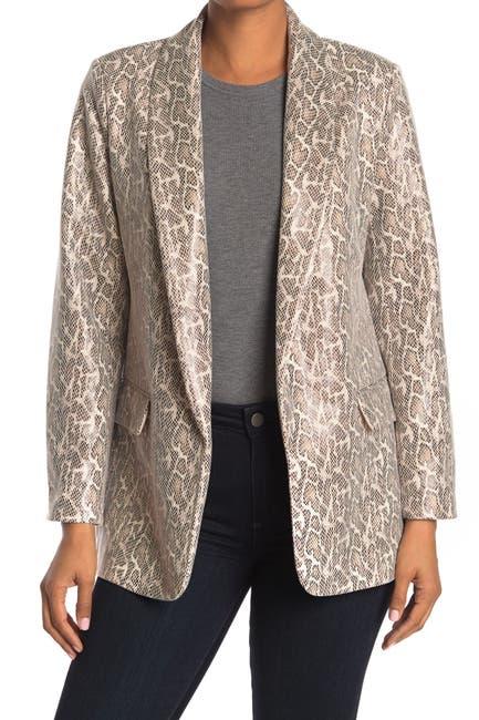 Image of Love Token Faux Leather Snake Print Blazer Jacket