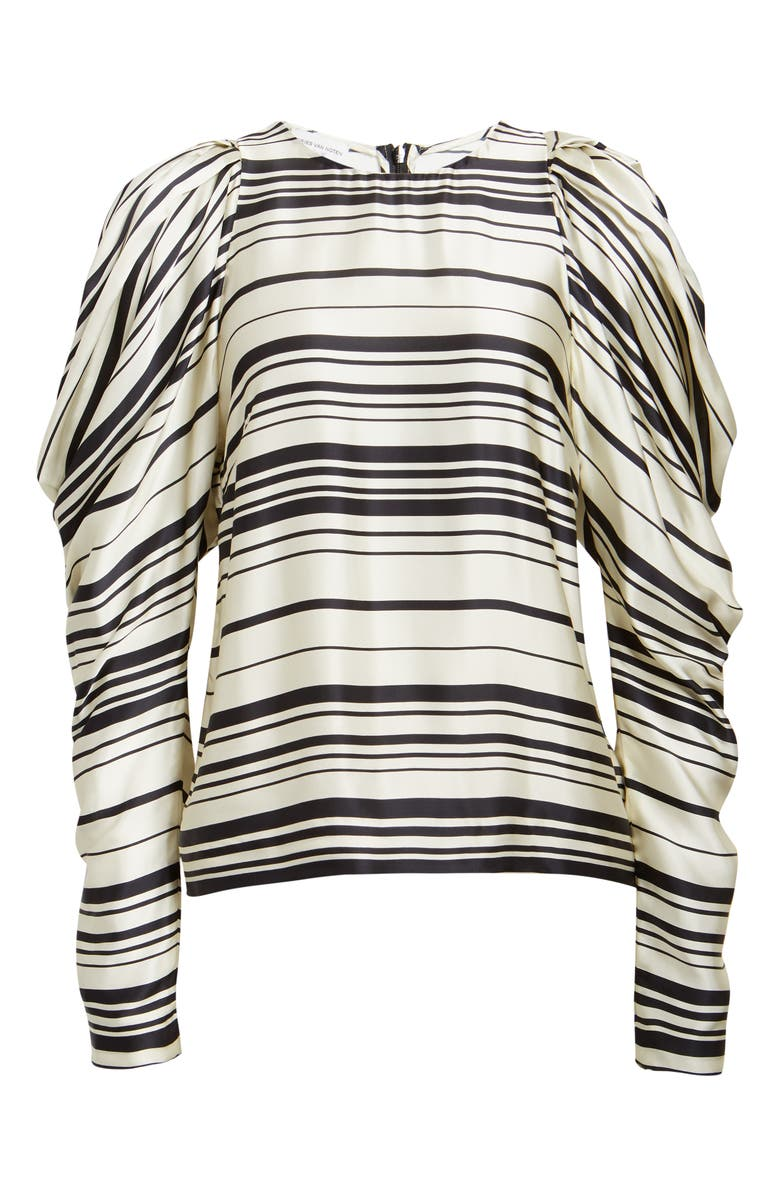 DRIES VAN NOTEN Coal Stripe Drape Statement Sleeve Top, Main, color, BLACK