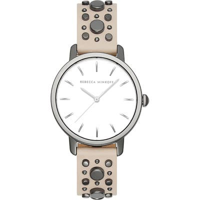 Rebecca Minkoff Bffl Studded Leather Strap Watch,