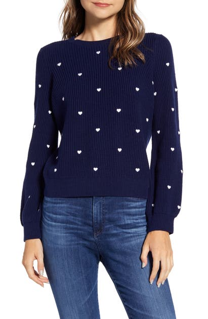 Lucky Brand Sweaters EMBROIDERED HEART SWEATER