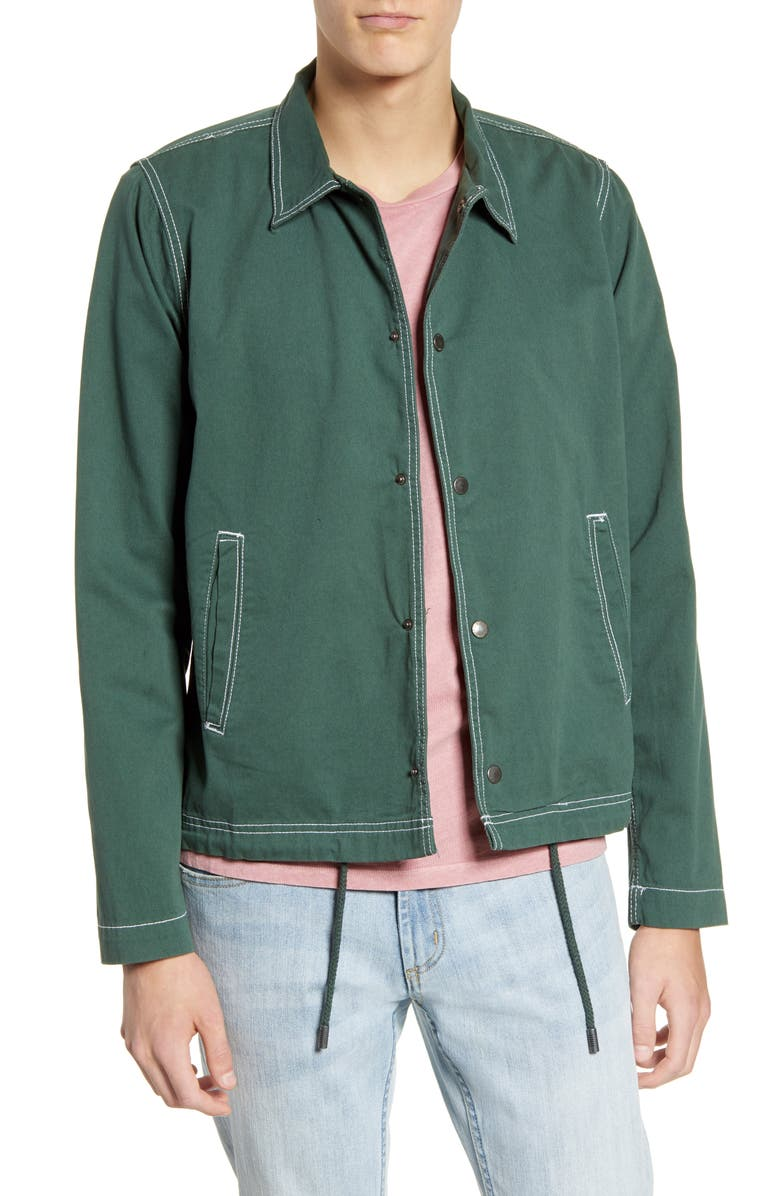 NATIVE YOUTH Jensen Topstitched Denim Trucker Jacket, Main, color, GREEN