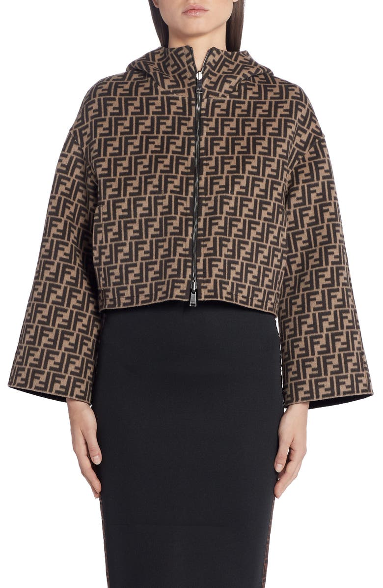 FENDI Leather Pocket Reversible FF Wool & Silk Hooded Jacket, Main, color, BLACK